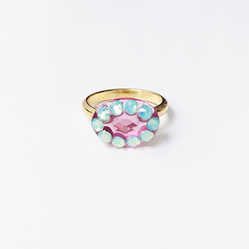 Dot Frame Ring -pink emerald-