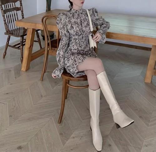 vintage flower dress 2color