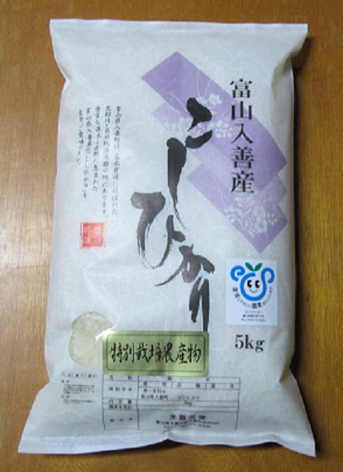 H.29産新米 富山県産特別栽培米こしひかり 白米5kg