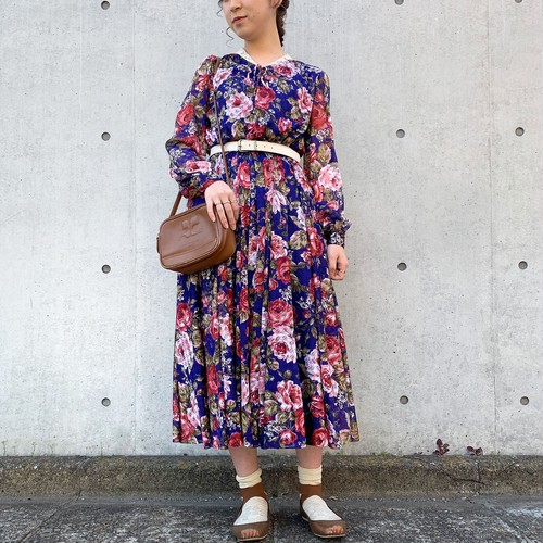 (LOOK) flower pattern l/s dress