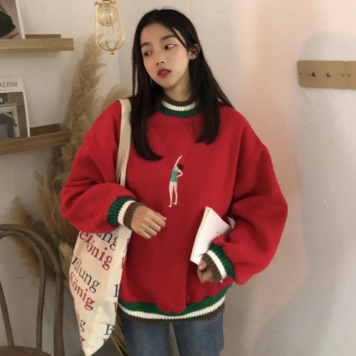 【トップス】ファッション長袖ラウンドネックプルオーバー配色パーカー25441242