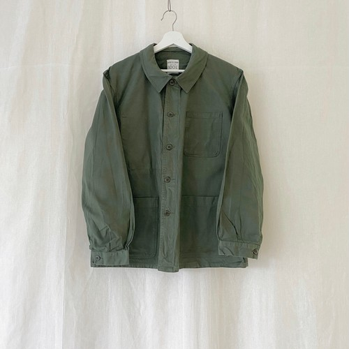 "FRANCE 70s〜vintage""FRENCH ARMY""cotton work jacket-Manufactured by ODON DELCROIX-ONE WASHED"