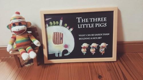 コピー:ほっこりポスター「ゾウと三匹の子ブタ」