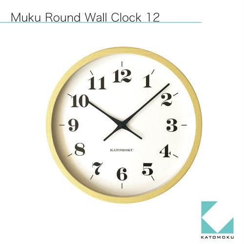 KATOMOKU muku round wall clock 12 イエロー km-97Y