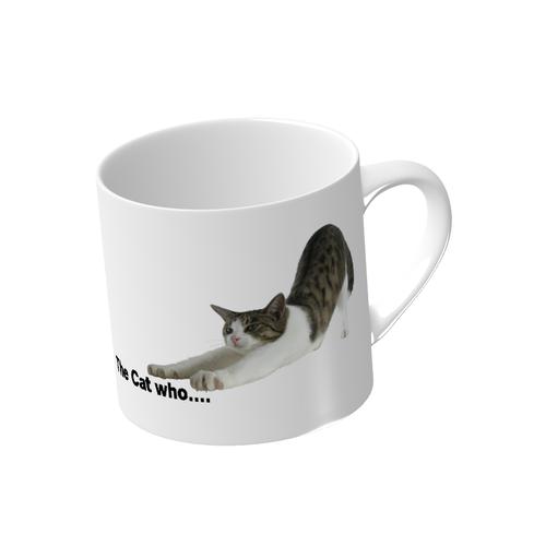 マグカップ(小)直径7.2x高さ7(cm) 背伸び 猫ジェリー (The Cat who.... ザ キャット フー 猫 ねこ)