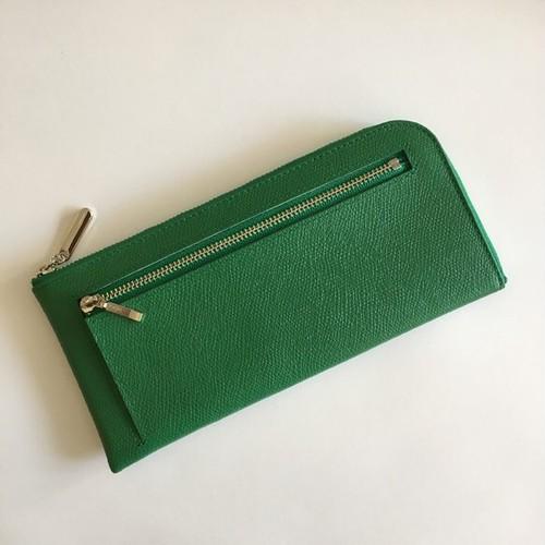 薄くて軽くて大容量な長財布 14ZipWallet 牛革 グリーン Squeeze スクイーズ 日本製
