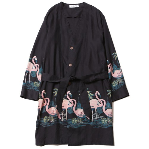 FLAMINGO NO COLLAR ROBE (FADE BLACK) / RUDE GALLERY