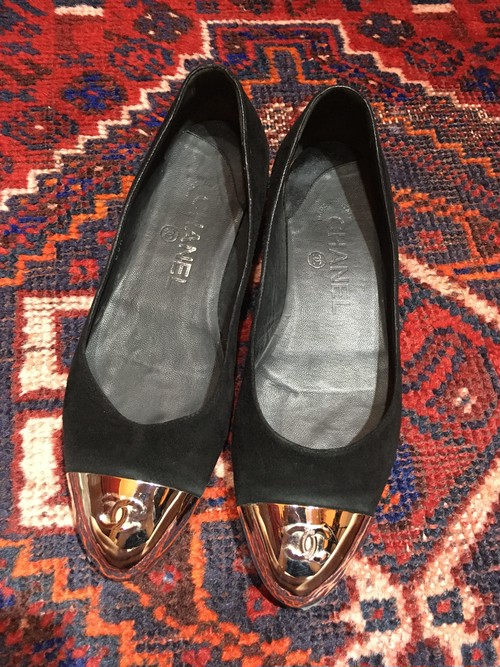 .CHANEL COCO MARC METAL TOE BICOLOR LEATHER PUMPS MADE IN ITALY/シャネルココマークメタルトゥバイカラーレザーパンプス 2000000033594