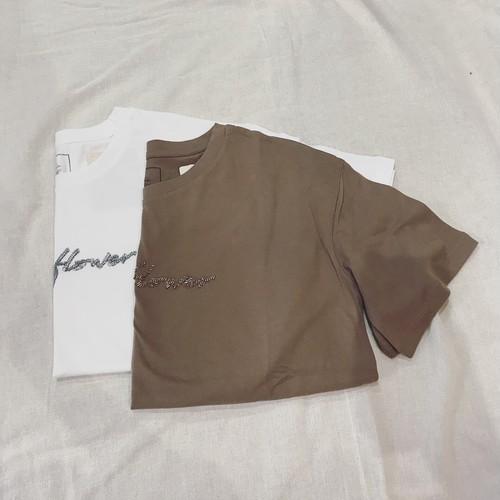 ビーズ刺繍ティーシャツ