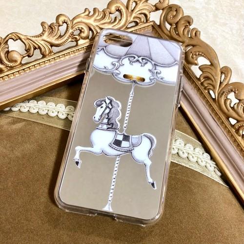 [iPhone7/8/7Plus/8Plus/X/XS受注生産]【シルバーミラー】カルーセル柄スマホケース