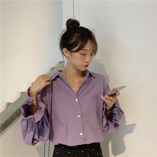 【トップス】韓国風合わせやすいルーズPOLOネックデザインブラウス