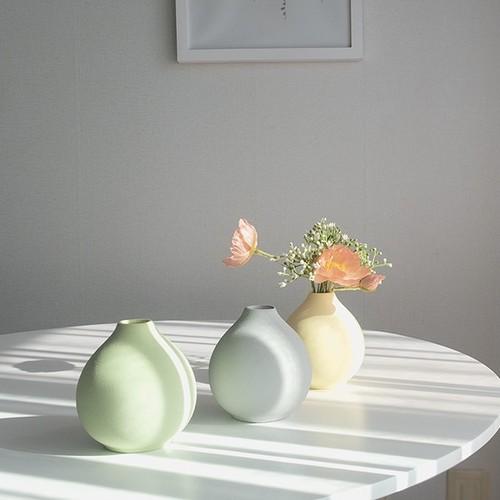 ceramic cercle vase 3colors / セラミック サークル ベース オブジェ 花瓶 韓国 北欧 インテリア 雑貨