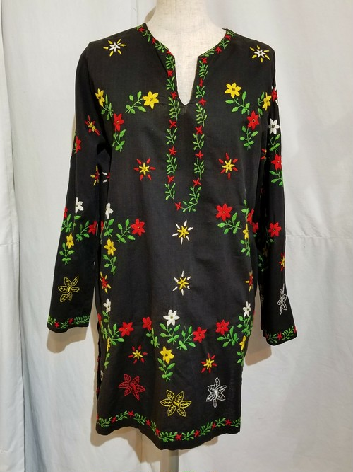 Flower embroidery tunic [H-140]
