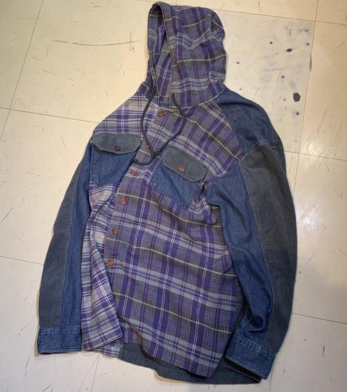 90's Hooded Denim Corduroy Nell Shirts XL 切替