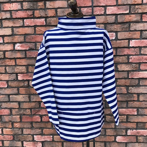 1980s Deadstock Fishermen's Smock Marine Stripe Pattern Blue×White Medium
