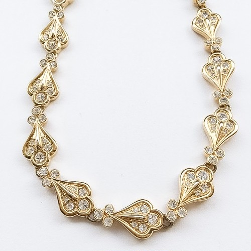 gold & rhinestone necklace[n-133]