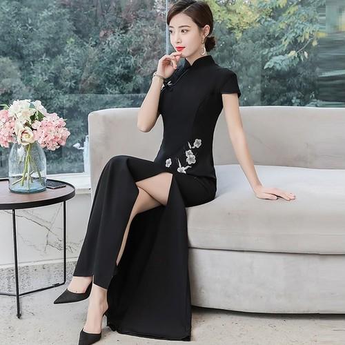 チャイナドレス ドレス スリット フォーマル パーティ お呼ばれ 花柄 スレンダー