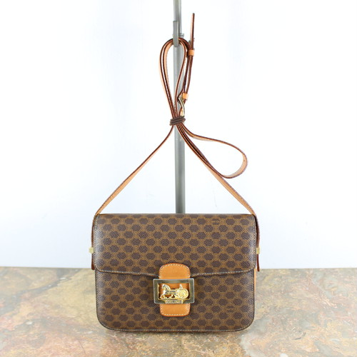 .VINTAGE CELINE MACADAM PATTERNED CARRIAGE LOGO LEATHER SHOULDER BAG MADE IN ITALY/ヴィンテージセリーヌマカダム柄馬車ロゴレザーショルダーバッグ 2000000046785