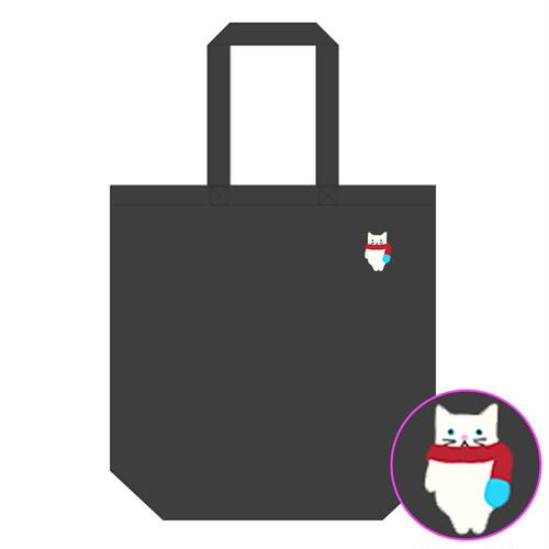 【4/21発売】マフニャー猫 (白)刺繍入りトートバッグ(ブラック生地)