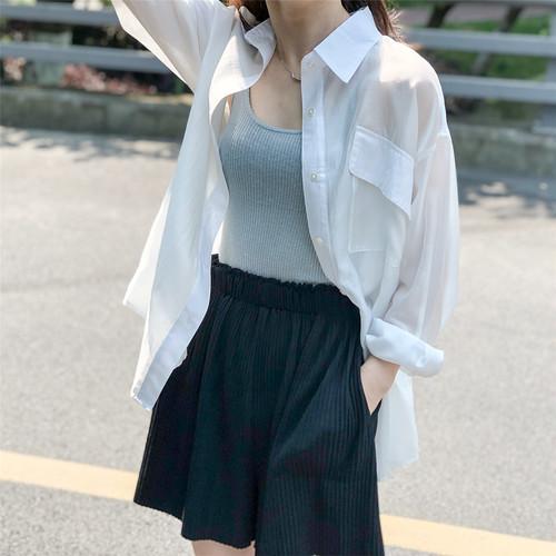 4色/デザインルーズテンセルシャツ ・2750