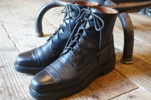 COLE HAAN black lace-up short Boots