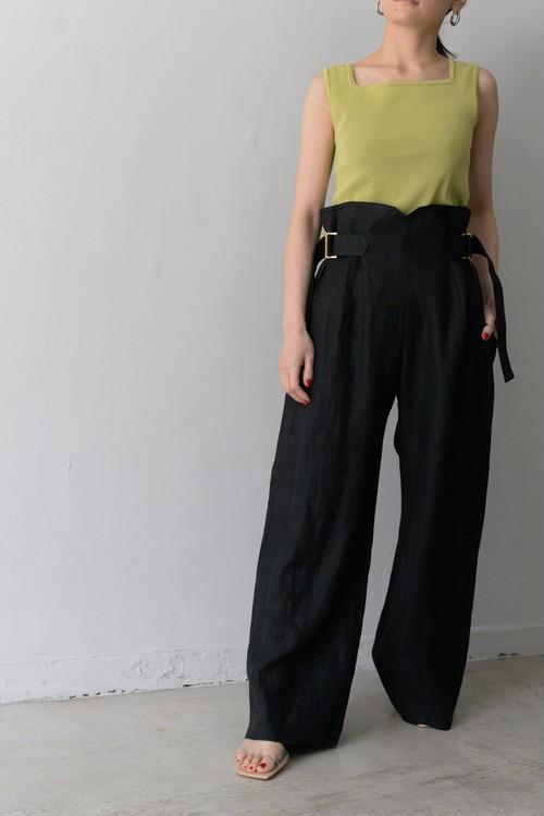 you ozeki / linen belted pants (black)