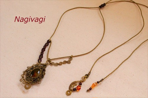 Amber brasswire macrame necklace