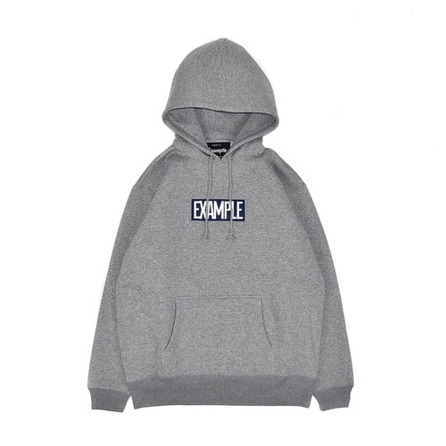 SQUARE EMBROIDERY LOGO HOODIE / GRAY