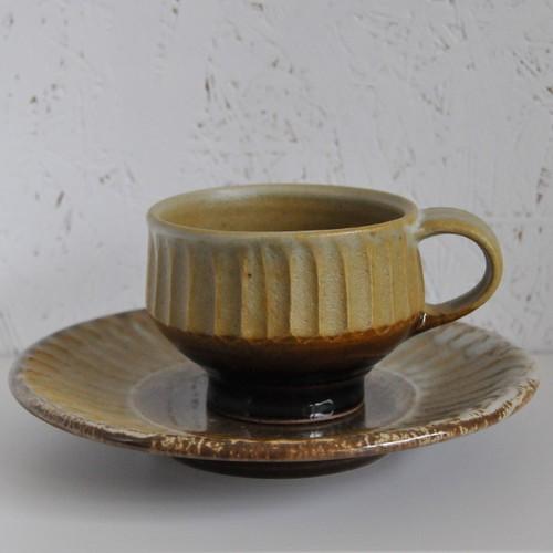笠原良子 掛合 しのぎコーヒー椀皿(カップ&ソーサー)