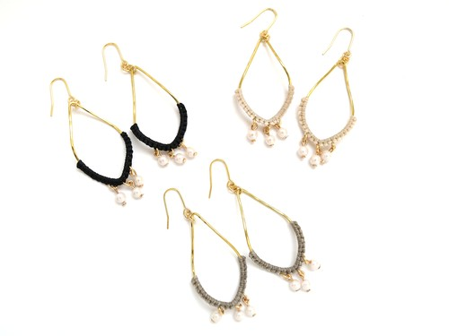 《niruc×KnottWorks》Brass Pearl Drop Earrings (ピアス/イヤリング)