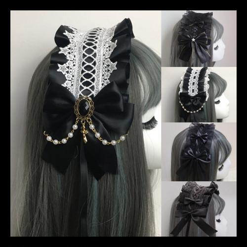 【お取り寄せ】ロリィタ ブラック ヘッドドレス 5種