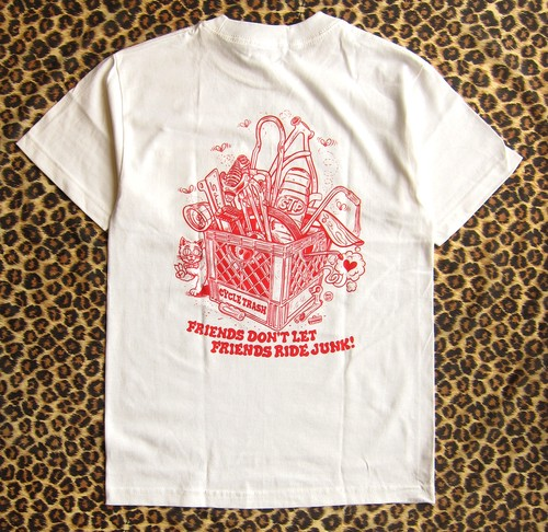 "Cycle Trash 21th anniversary ""Pocket"" T-shirt - White - by Burrito Breath"