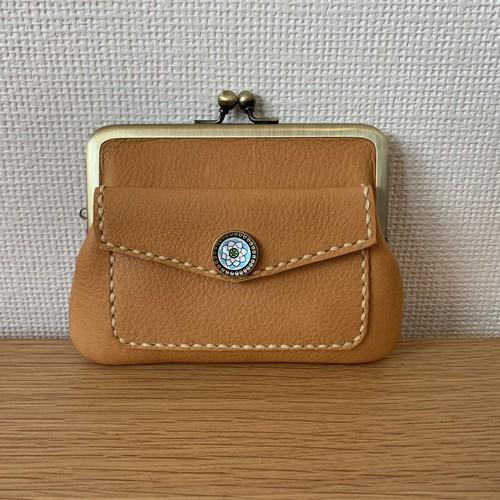 【送料無料】ぱかっと開くとお部屋が3つの親子がまぐち♪外ポッケの付いた本革ぺたんこミニ財布