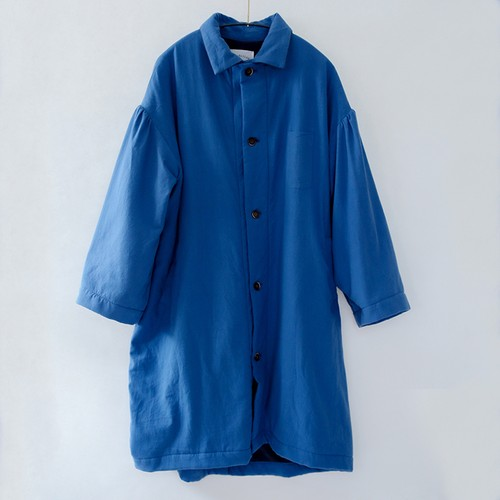 Back fleece long coat    Fsize    Blue
