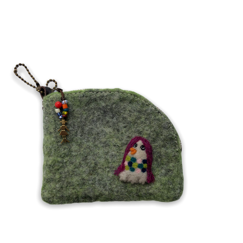 [羊毛フェルト] 財布ポーチ -アマビエ様-