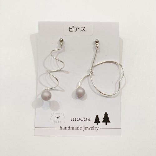 【mocoa】乙女ハートspiralピアス(シルバー)/パーツ交換可能