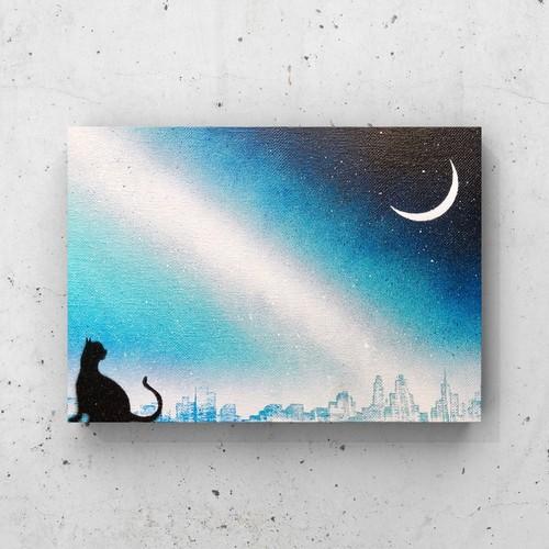 「三日月と猫」 キャンバスパネル風景画