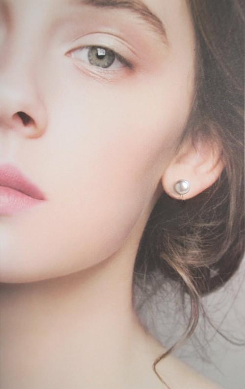 一粒淡水真珠のスタッド・ノンホールピアス(ピアスに見えるイヤリング
