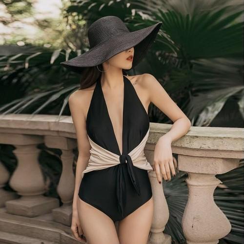 水着 ワンピース リボン バイカラー ベージュ ブラック ツートーン シンプル 大人可愛い セクシー 無地 ビーチ リゾート 海外ファッション 2020 新作 春夏 A362