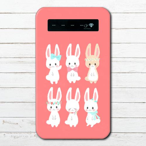 #053-001 モバイルバッテリー うさぎ ウサギ かわいい 兎 動物 iphone スマホ 充電器 タイトル:うさぎいっぱい 作:Hanami