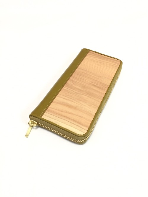 御山杉 フルジップ財布 緑色(グリーン)