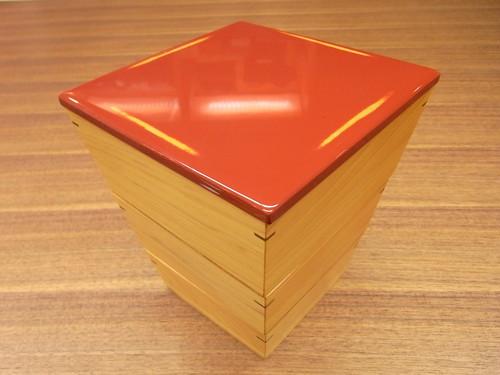 紀州塗 台形三段重 根来 赤 熊野ヒノキ
