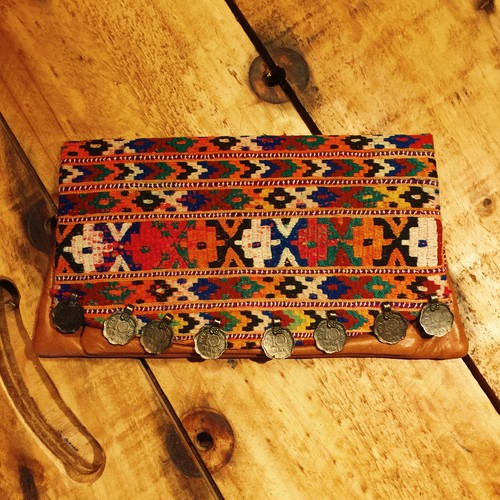 vintage textiles clutch bag (brown leather A)