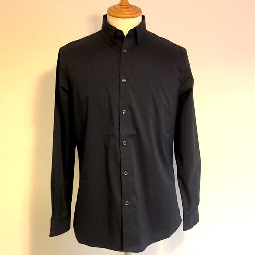 Rippled Stripe Short Collar Shirts Navy