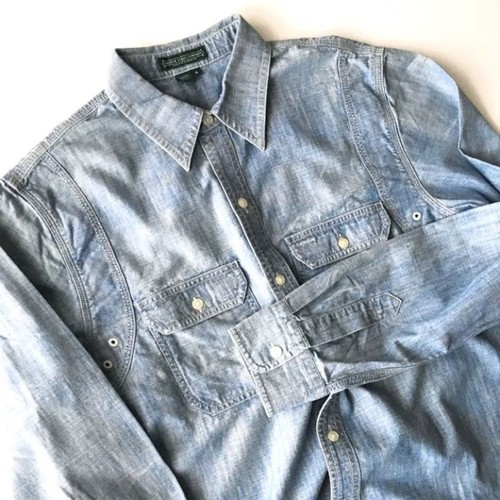 LAUREN JEANS CO. : chambray work shirt (used)