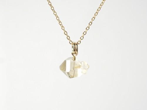 ベビー付個性的なハーキマーダイヤモンドのネックレスB/14kgf[N01258]c
