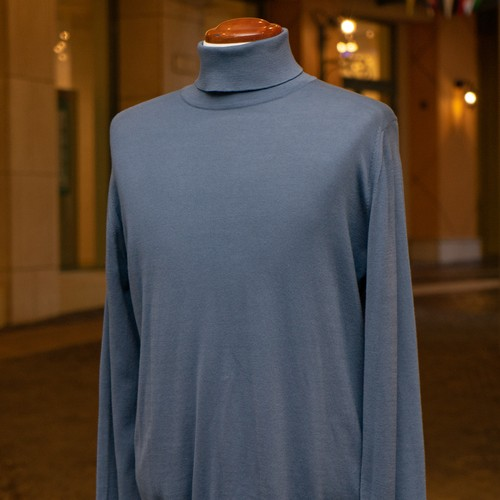 NEW JOHN SMEDLEY COTTON TURTLENECK SWEATER BLUE GREY