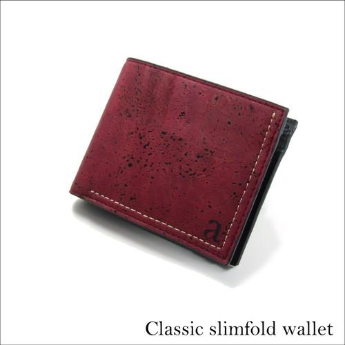 VEGAN MEN'S SLIMFOLD WALLET  MAROON / 二つ折り財布 マルーン&ブラック コルク製