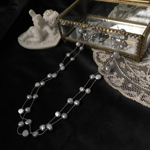 KIT 淡水パールのネックレス(グリフィン糸) グレー