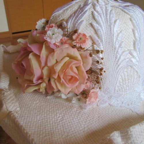 フェミニン な 帽子 白 コサージュ付 新品